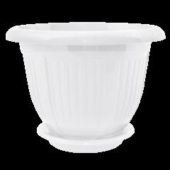 Вазон с подставкой Волна Ø12 см белый 0,5 л Алеана (112049)