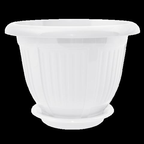 Вазон с подставкой Волна Ø24 см белый 3,8 л Алеана (112046)