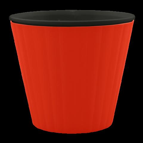 Вазон Ибис  Ø13 см красный с чёрной вставкой 1 л Алеана (114012)