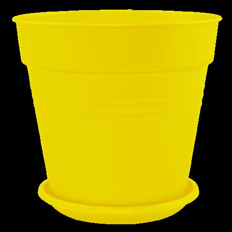 Вазон с подставкой Глория Ø24 см жёлтый 6,6 л Алеана (114017)