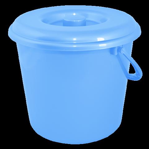 Ведро хозяйственное с крышкой 5 л голубое Алеана 124005