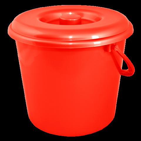 Ведро хозяйственное с крышкой 18 л красное Алеана 122018