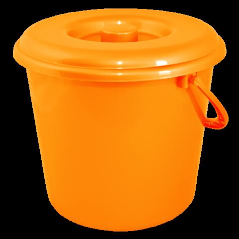 Ведро хозяйственное с крышкой 18 л оранжевое Алеана 122018