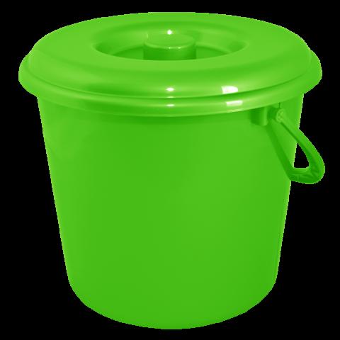 Ведро хозяйственное с крышкой 5 л зелёное Алеана 124005