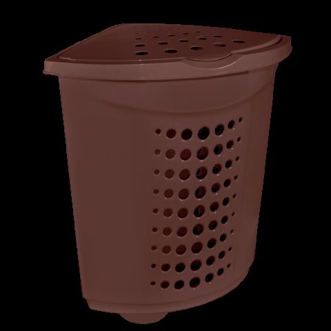 Корзина для белья угловая 45 л коричневая Алеана (122051)