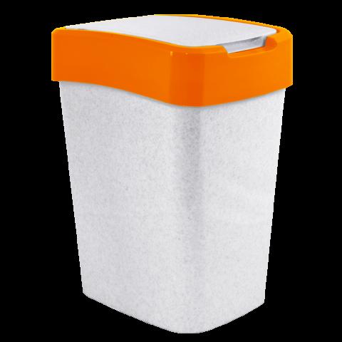 Ведро для мусора Евро 10 л мрамор-оранжевый Алеана 122066