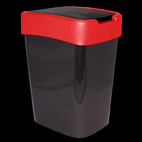 Ведро для мусора Евро 10 л чёрный-красный Алеана 122066