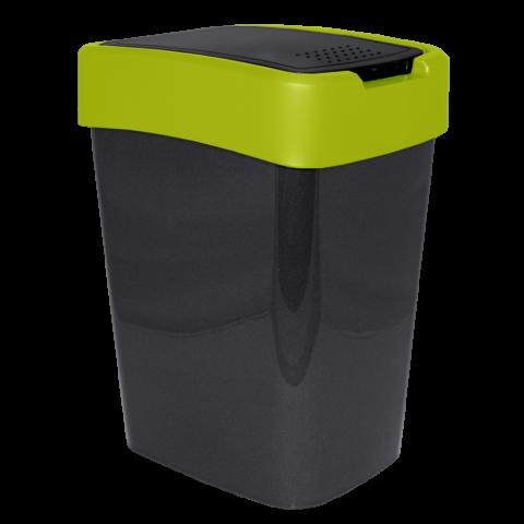 Ведро для мусора Евро 45 л чёрный-салатовый Алеана 123068