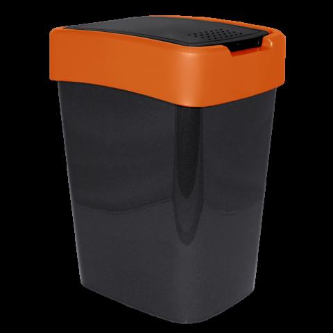 Ведро для мусора Евро 10 л чёрный-оранжевый Алеана 122066