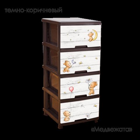 Комод с рисунком Медвежата 46,5х39,5х95,5 тёмно-коричневый Алеана 123093