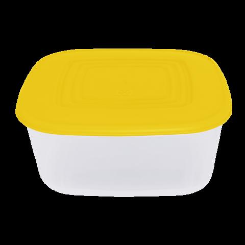 Контейнер для пищевых продуктов 1,88 л квадратный жёлтая крышка Алеана 167014