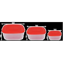 Набор контейнеров пищевых 0,93+1,88+3 л квадратных Алеана 167016