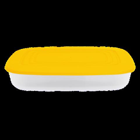 Контейнер для пищевых продуктов 2,5 л прямоугольный жёлтая крышка Алеана 167025