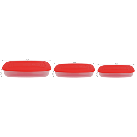 Набор контейнеров пищевых 0,95+1,5+2,5 л прямоугольных Алеана 167026