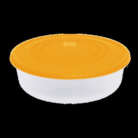 Контейнер для пищевых продуктов 0,55 л круглый оранжевая крышка Алеана 167033