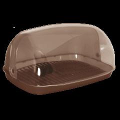 Хлебница овальная мини 32х25х17 см коричневая Алеана 167081