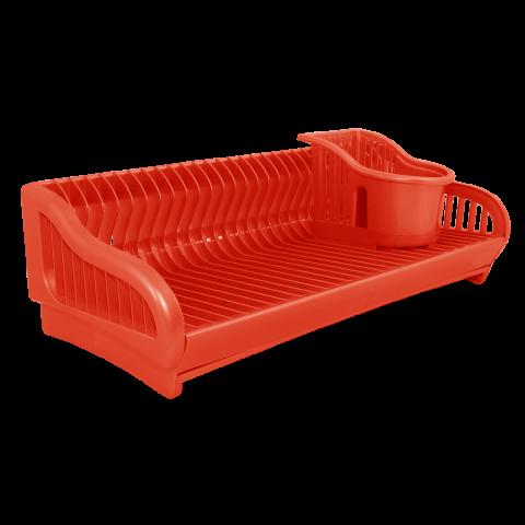Сушка для посуды 2 в 1 53х23х19 см красная Алеана 167091