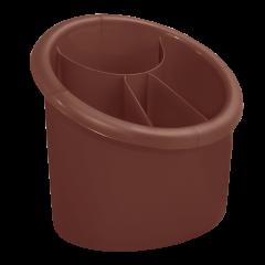 Подставка для столовых приборов 17х13х15,5 см коричневая Алеана 167094