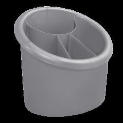 Подставка для столовых приборов 17х13х15,5 см серая Алеана 167094