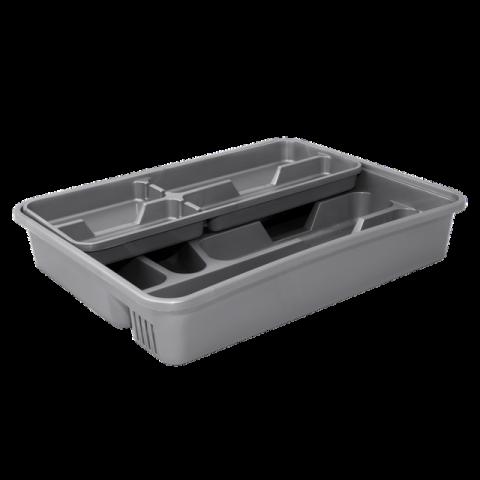 Лоток для столовых приборов (серый) со вставкой (серый) Алеана 167402