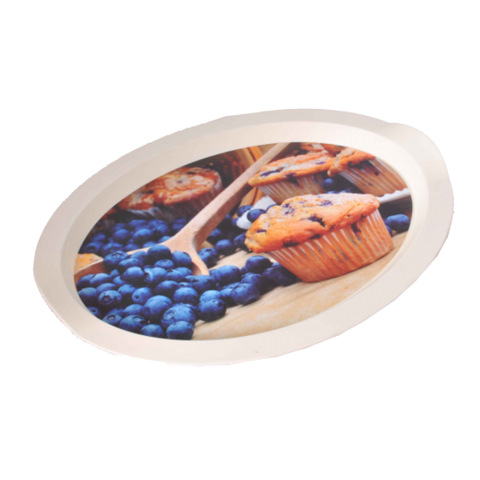 Поднос овальный с декором черника 47х35х3,5 см Алеана 167403