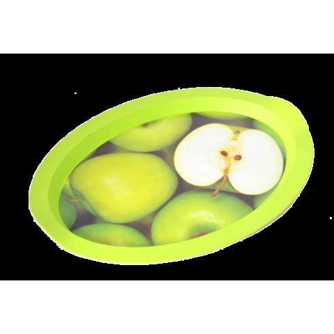 Поднос овальный с декором яблоки 47х35х3,5 см Алеана 167403
