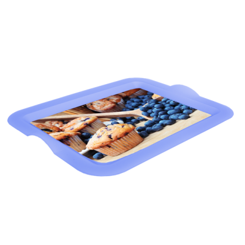 Поднос прямоугольный с декором черника 46,5х36,5х3,5 см Алеана 167404