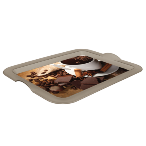 Поднос прямоугольный с декором кофе 46,5х36,5х3,5 см Алеана 167404