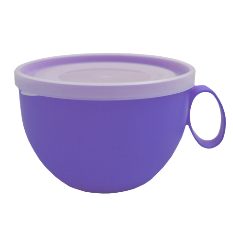 Чашка с крышкой 0,5 л 14х12х8 см синяя Алеана 168006