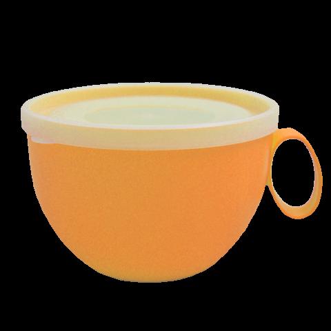 Чашка с крышкой 0,5 л 14х12х8 см оранжевая Алеана 168006