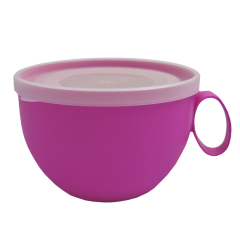 Чашка с крышкой 0,5 л 14х12х8 см малиновая Алеана 168006