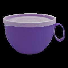 Чашка с крышкой 0,5 л 14х12х8 см фиолетовая Алеана 168006