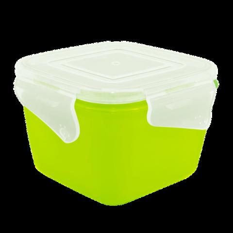 Контейнер с зажимом Фиеста 0,9 л квадратный салатовая крышка Алеана 168052