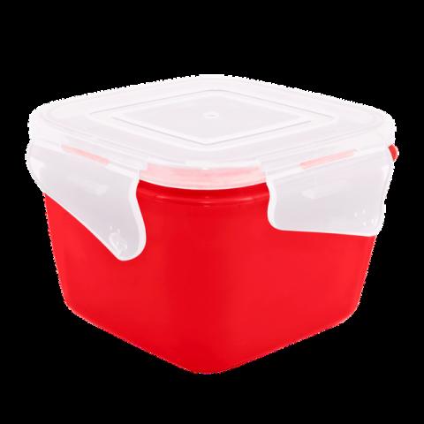 Контейнер с зажимом Фиеста 0,9 л квадратный красная крышка Алеана 168052