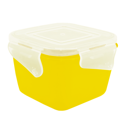 Контейнер с зажимом Фиеста 0,9 л квадратный жёлтая крышка Алеана 168052