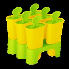Формы для мороженого с подставкой 6 шт. жёлтый-салатовый Алеана