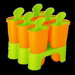Формы для мороженого с подставкой 6 шт. оранжевый-салатовый Алеана