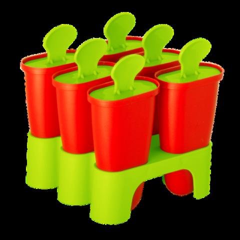Формы для мороженого с подставкой 6 шт. красный-салатовый Алеана