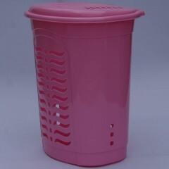 Корзина для белья овальная розовая