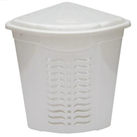 Корзина для белья угловая белая, Ал-Пластик, Арт.: 308