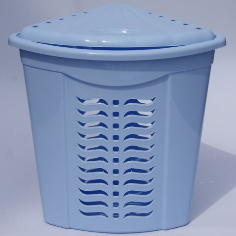 Корзина для белья угловая голубая, Ал-Пластик, Арт.: 305