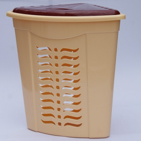 Корзина для белья угловая бежевая, Ал-Пластик, Арт.: 306