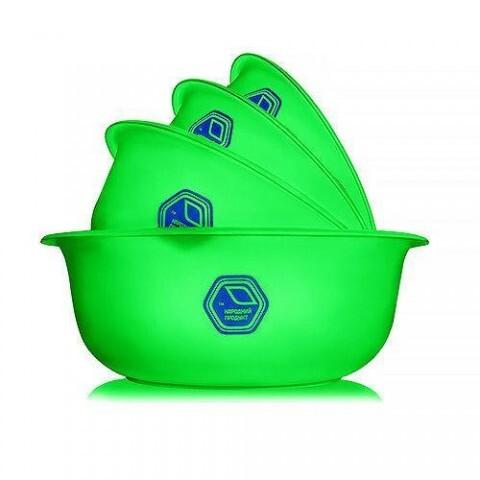 Набор мисок прозрачных 0,7+1,5+2+3 л зелёные Народный продукт 74